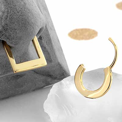 14k Gold Geometric Clicker