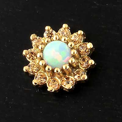 14k Gold 13 Stone Flower Threadless End