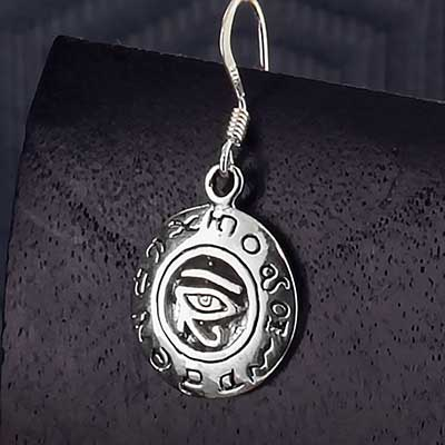 Silver Zodiac Eye of Horus Earrings