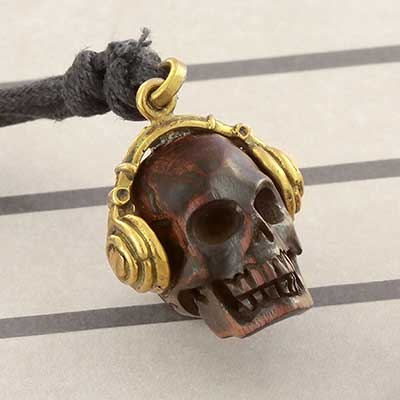 Arang Wood Skull with Headphones Necklace