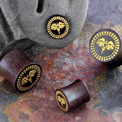Dark Tamarind Wood Eyes of Buddha Plugs