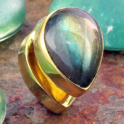 Solid Brass Mini Spade Weights with Labradorite