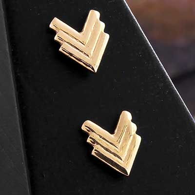 Solid 14k Gold Chevron Threadless End