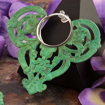 Green Patina Filigree Tapered Copper Blade Hoops