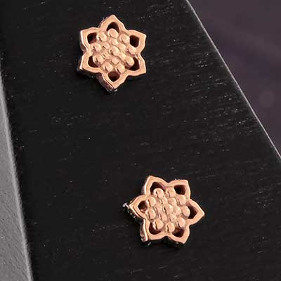 Solid 14k Gold Micro Lotus Threadless End