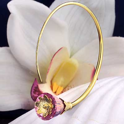 Solid Brass Tsabit Design with Pink Glass Flowers
