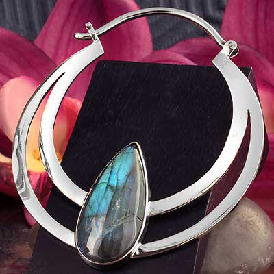 White Brass Eclipse Moon Hoops with Labradorite