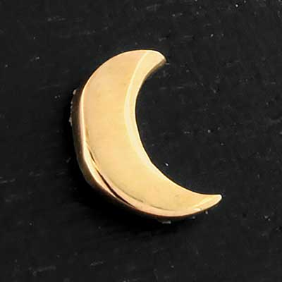 Solid 14k Gold Crescent Moon Threadless End
