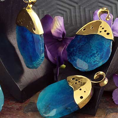 Brass with Blue Spiderweb Agate Weights
