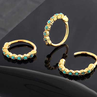Side Set Turquoise Embellished Clicker Ring