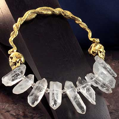 Solid Brass and Quartz Crystal Medusa Hoops