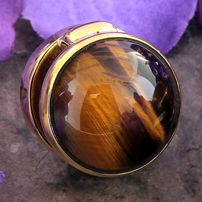 Solid Brass Yayo Design with Tiger Eye
