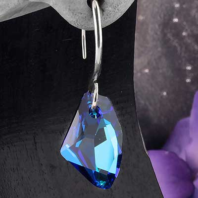 Bermuda Blue Swarovski Crystal with White Brass Hooks