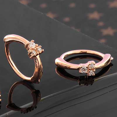 Side Set Trio CZ Clicker Ring