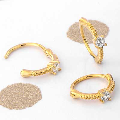 Side Set Petite Crystal CZ Clicker Ring