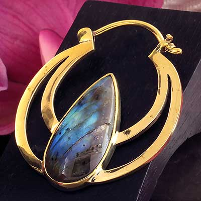 Solid Brass Eclipse Moon Hoops with Labradorite