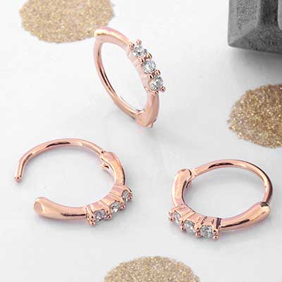 Side Set Trinity CZ Clicker Ring