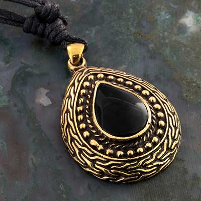 Brass and Black Onyx Teardop Necklace