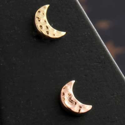 14k Gold Hammered Moon Threadless
