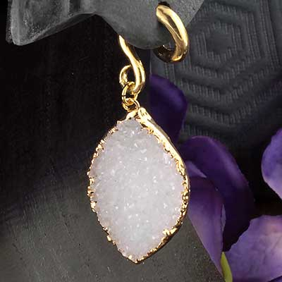 Solid Brass and Electroplated Quartz Druzy Weights