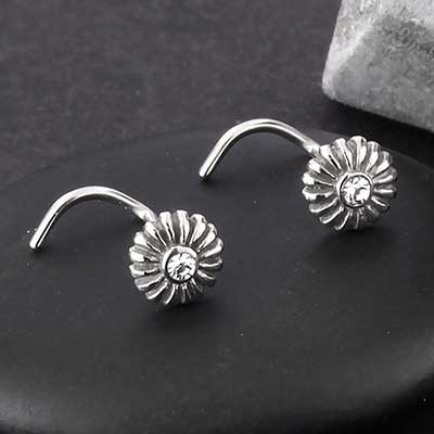Steel Gemmed Sunflower Nosescrew