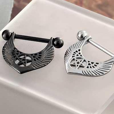 Winged Pentagram Nipple Stirrup