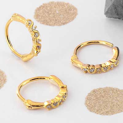 Side Set Wave CZ Clicker Ring
