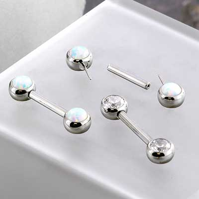 Titanium Threadless Nipple Barbell with Forward Facing Gems