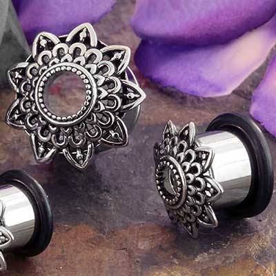 Steel Filigree Sun Single Flare Eyelet