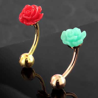 Acrylic Rose Curved Barbell