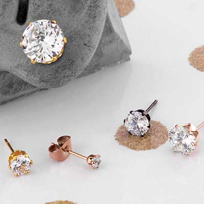 Prong Set CZ Stud Earrings