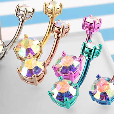 Color Coated AB Gem Navel