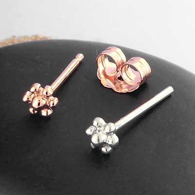 14k Gold Beaded Flower Earring