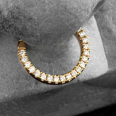 14K Gold Eternity Clicker With Diamonds
