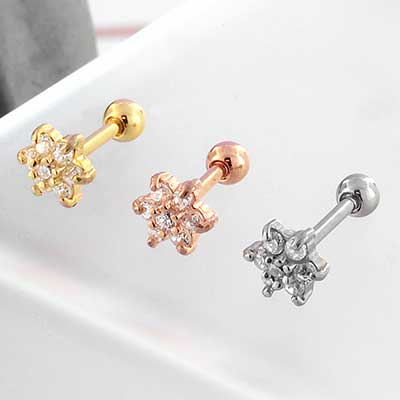 Internally Threaded Six Petal Flower Barbell