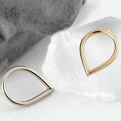Solid 14k Gold Teardrop Seamless Ring