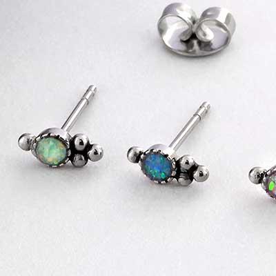 Synthetic Opal Beaded Cluster Stud Earrings
