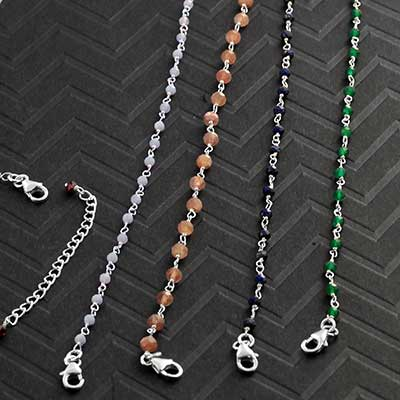 Genuine Gemstone and Silver Bracelet and Necklace
