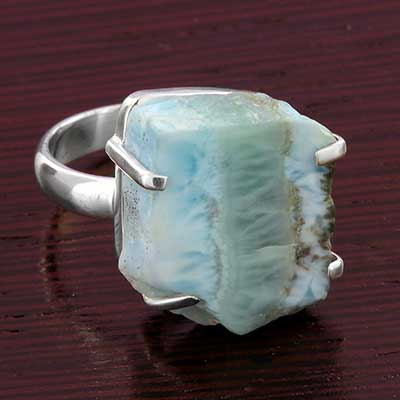 Silver and Rough Larimar Ring