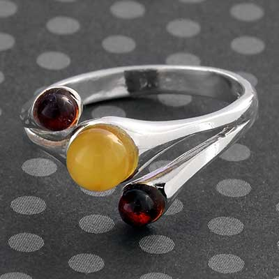 Silver and Trio Amber Ring