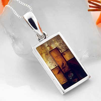 Silver and Mosaic Amber Pendant Necklace