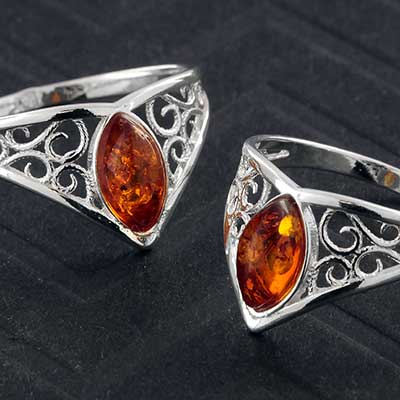Silver and Amber Crest Ring