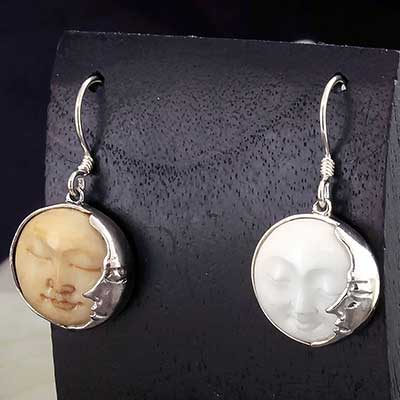 Silver and Bone Celestial Earrings