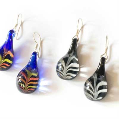 PRE-ORDER Feather Glass Teardrop Earrings