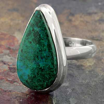 Silver and Chrysocolla Ring