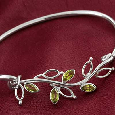 Peridot and Silver Flora Bracelet
