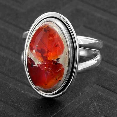 Silver and Mexican Fire Opal Ring