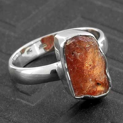 Silver and Rough Sunstone Ring