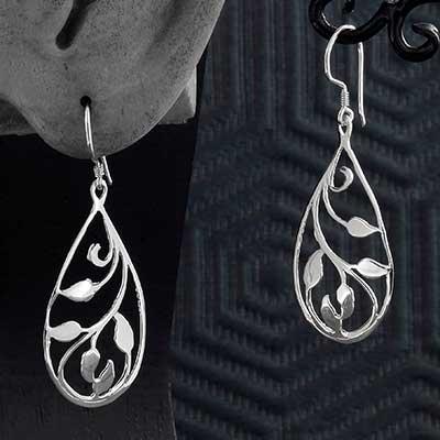 Silver Vine Teardrop Earrings