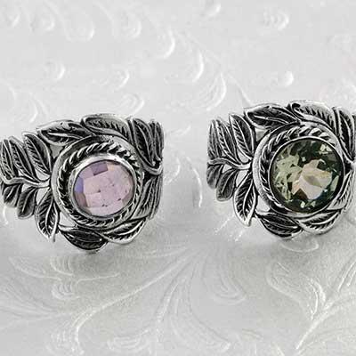 Silver and Gemstone Flourish Ring